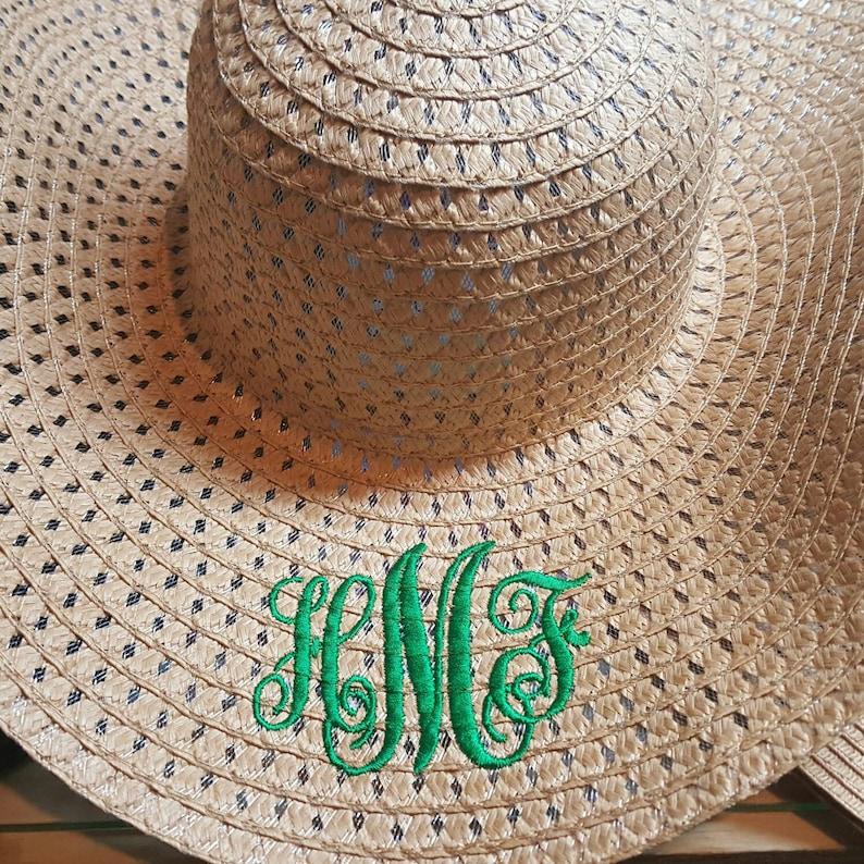59af8de7 Customized Embroidered Floppy Wide Brim Beach Straw Hat | Etsy