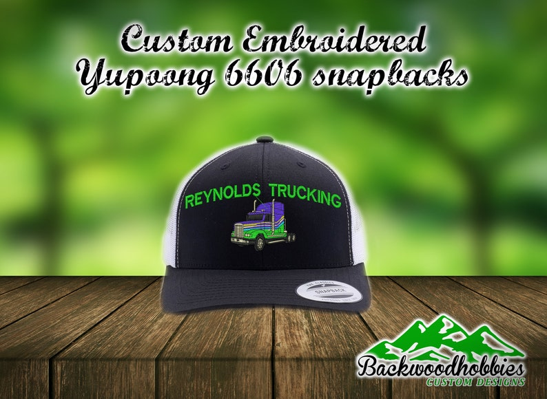 5d4614bd9d832 Embroidered Yupoong 6606 trucker hats with truck and company | Etsy