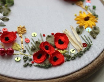 hand embroidered gift, autumn themed art, in memory, remembrance gift, in flanders field, remembrance day, embroidery art, silk ribbon