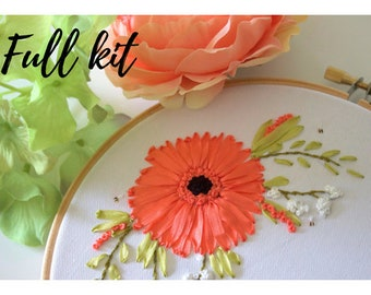 Hand embroidery kit, silk ribbon embroidery, ribbon embroidery kit, personalise, learn to sew, silk flower kit, floral arrangement