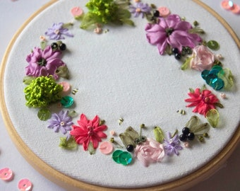 Hand embroidery, embroidery hoop, textile art, rainbows, flower wreath, door wreath, flower art, silk ribbon embroidery, gift for mom