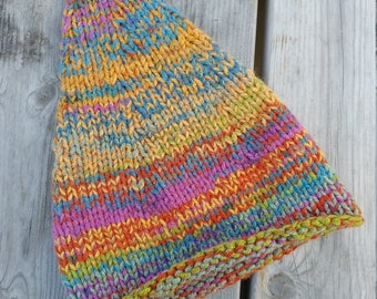 child's elf hat gnome hat rainbow bright pixie knit