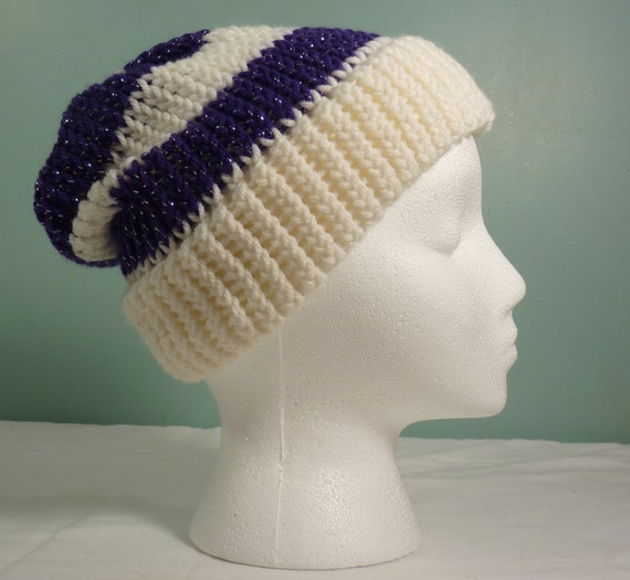 63cc6e80b70876 White and Purple Knit Stocking Cap Slouchy Fashion Hat Knit   Etsy