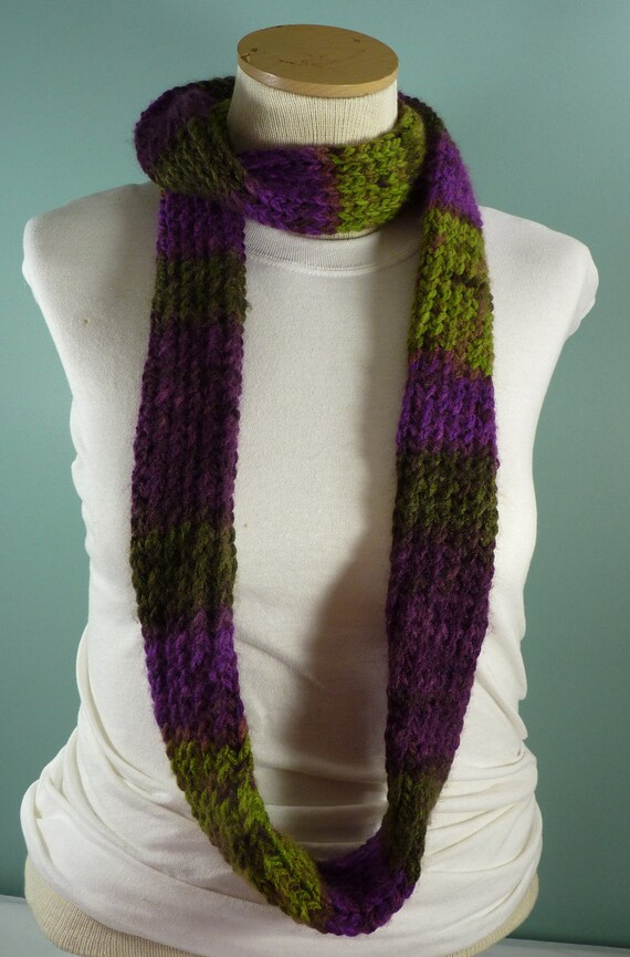 Loom Knit Infinity Scarf Mens Knit Scarf Purple And Green Etsy