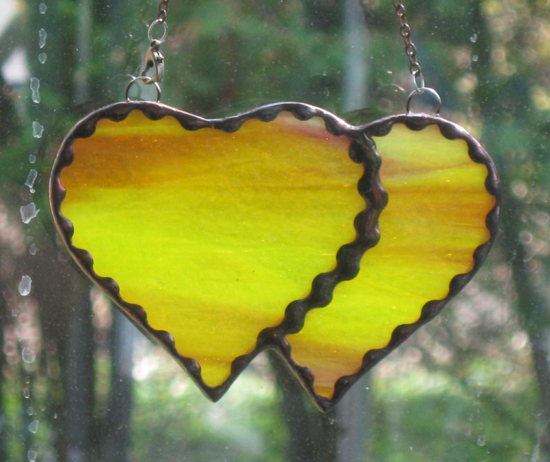 hot yellow and pink Stained Glass Double Heart 11