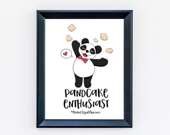 Pancakes Print, Panda Bear, Original Illustration, Funny Poster, Kitchen Decor
