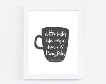 Coffee Cup, Kitchen Art, Illustration, Coffee Print, Kitchen Prints, Quote Prints, Black and White Print, Minimal Print