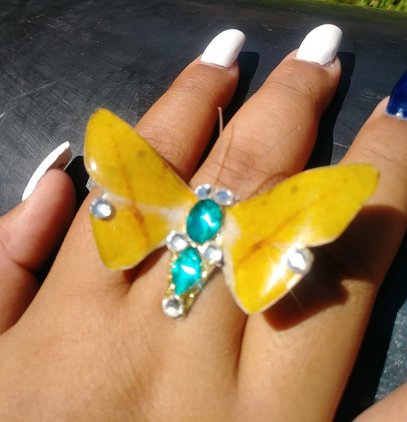 Resin Ring Yellow Butterfly Oversized Ring Boho Ring Butterfly Ring Metal Jewelry Adjustable Ring Butterfly Jewelry