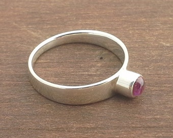 Silver and Pink Tourmaline Ring