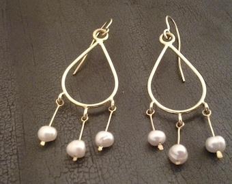 Gold and Pearl Dangle Earrings