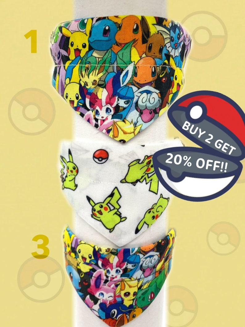 Small Dog /& Cat Bandana Accessories for Collars 7-12 Pok\u00e9mon  Pokemon  Pikachu  Bulbasaur  Charmander MULTIPLE DESIGNS