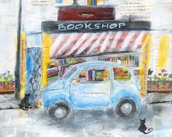 Bookshop Giclée Print, Bookclub Print, Library Art, Mixed Media Print, Bookstore Painting, Cat Art Print, Books, Bookshop Giclee Print #5