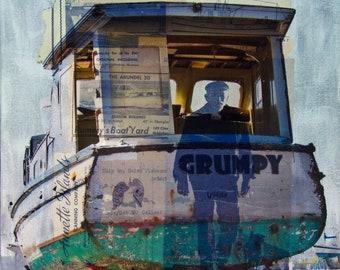 Sea Captain Giclée Print, Grumpy Boat Art, Coastal Decor, Boat Mixed Media, Beach Cabin Ocean Print, Boater Art, Captain Giclée Print #35