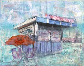 Seaside Beach Print, Oyster Shack, Beach Chairs, Sunset Mixed Media Art, Seafood Art, Coastal Ocean Seaside Print,  Giclée Print #123
