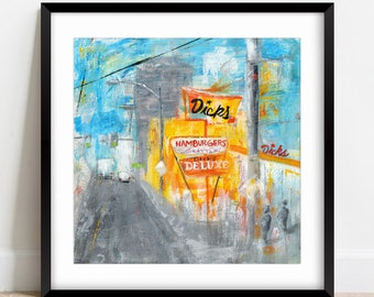 City Print, Dick's Drive In Art, Burger Art, Edgy City, Mixed Media, Seattle, Abstract Burg Grunge, Seattle Area Favorite, Travel Print #21