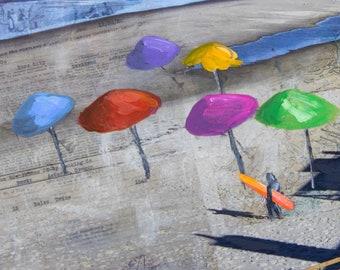 Beach Umbrella Coastal Art, Mixed Media Painting, Sandy Beach Print, Beach House Decor, Surf Art, Beach Painting, Giclée Print #104