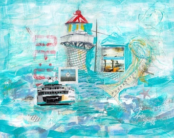 Whidbey Mukilteo Ferry Mixed Media Print, Lighthouse Painting, Whidbey Island, Ferry Boat Art, Mukilteo Lighthouse, Ocean Sea, Print #109