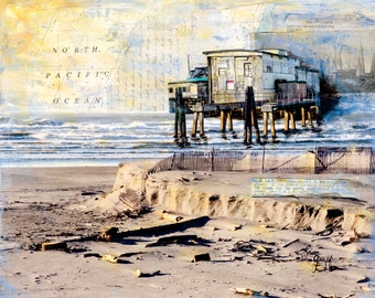 Beach Giclée Art Print, Ocean Sea Wall Art, Coastal Decor, Sand Dunes Mixed Media Art, Acrylic Painting, 'Above the Waves' Beach Print #113