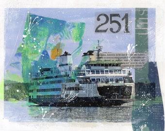 Ferry Boat Print, Friday Harbor Art, San Juan Islands, Mixed Media Art, Seattle Area Art Giclée Print, Sea Seaside Wall Decor, Print #125