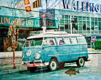 Seattle Print, VW Bus Giclée Print, Wallingford Seattle Mixed Media, Retro Van Art, Boho Bus Decor, Bohemian, Grunge, Eclectic Art Print #98