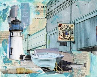 Sea Hag Bar & Grill Art, Ilwaco Lighthouse Mixed Media Art, Ocean Sea Print, Boat Art Print, Beach Print, #127