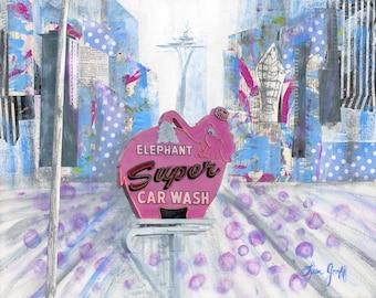 Iconic Elephant Car Wash Print, Seattle Art, Space Needle Print,  Pink Elephant Funky Bohemian, Mixed Media Painting, Giclée Art Print #108
