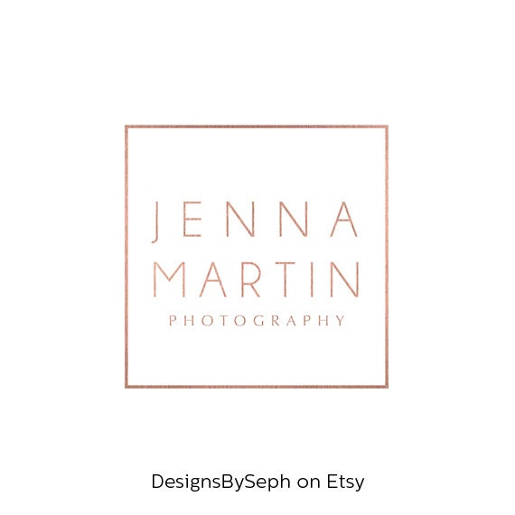 Premade Logo Design Photo Watermark Template Rose Gold
