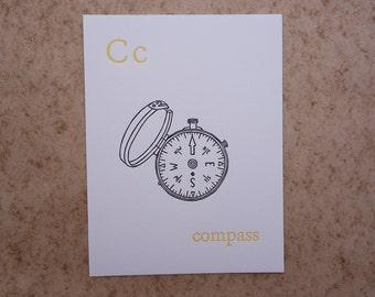 Letterpress Compass Print