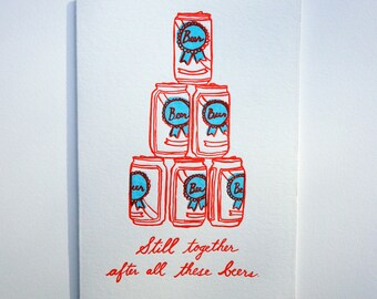 Letterpress Beer Can Card