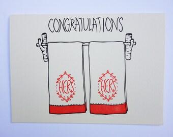Letterpress Congratulations Couples Towel Cards