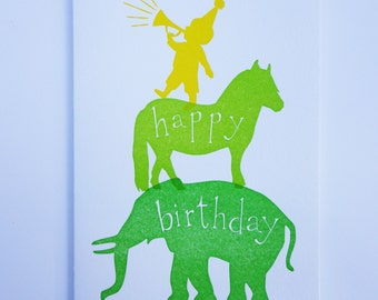 Letterpress Circus Birthday Card