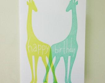 Letterpress Giraffes Happy Birthday Card