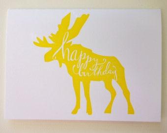 Letterpress Moose Happy Birthday Card