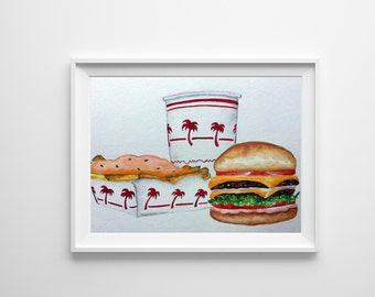 In-N-Out Burger Watercolor Painting