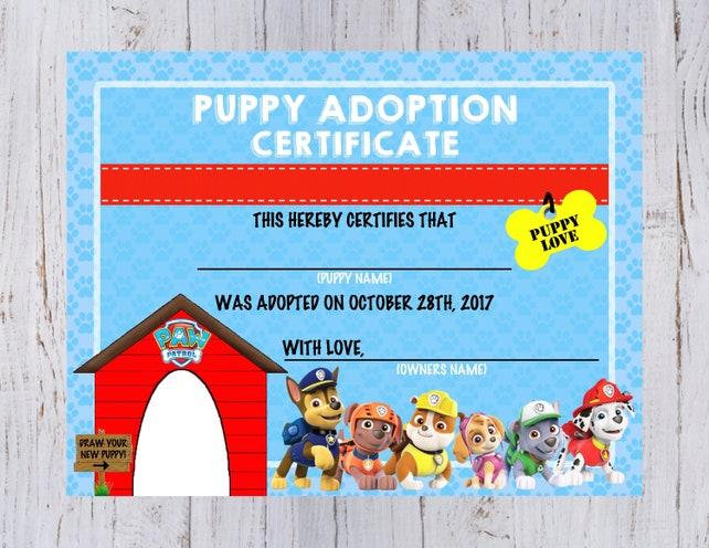 Paw Patrol Puppy Adoption Certificate   Etsy