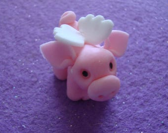 Cold porcelain Pink Flying Pig/Pig Birthday/Baby Shower Cupcake topper/decoration hand formed and designed by Cookiecuttercuties