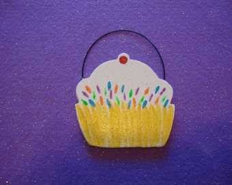 Salt Dough Cupcake ornament smooth finish with hand painted sprinkels Handmade Cookiecuttercuties
