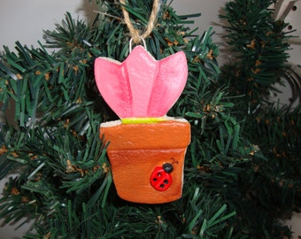 Tulip flower pot with ladybug Salt Dough ornament/decoration handmade hand painted by Cookiecuttercuties