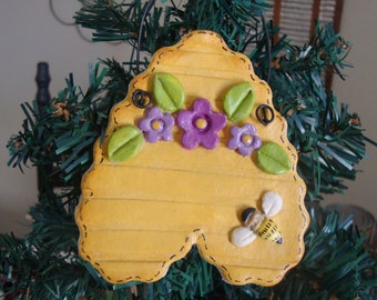 Adorable Personalized Bee Hive handmade/hand painted Salt dough ornaments designed by Cookiecuttercuties