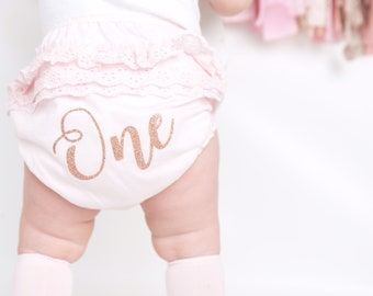 1st Birthday/Cake Smash Nappy Cover/Knickers 'ONE' or '1' for First Party - Can be Personalised - Pink or White