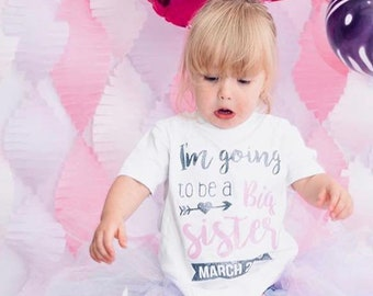 b02a02f98 I m Going to be a Big Sister - Birth Announcement T-Shirt Top Vest Glitter  for Girl Baby