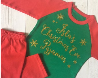 570305dd4 Personalised Christmas Eve Pyjamas/PJs in Red and Green with gold glitter  or pink/red.
