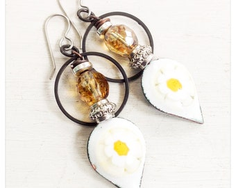 Enameled daisy earrings - brass hoop earrings