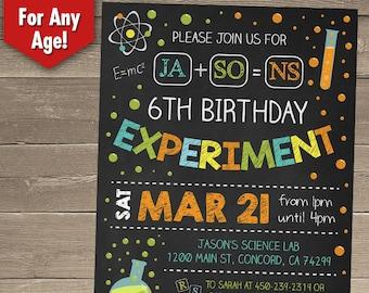 Science Birthday Invitations, Science Birthday Party, Science Invitation, Science Party, Mad Science Party, Printable Invitation