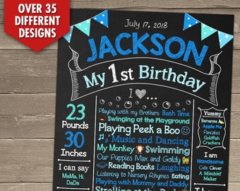 First Birthday Chalkboard, First Birthday Chalkboard Sign, 1st Birthday Chalkboard, First Birthday Chalkboard Poster