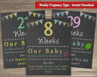 Weekly Pregnancy Sign Printable Chalkboard Signs Baby Countdown