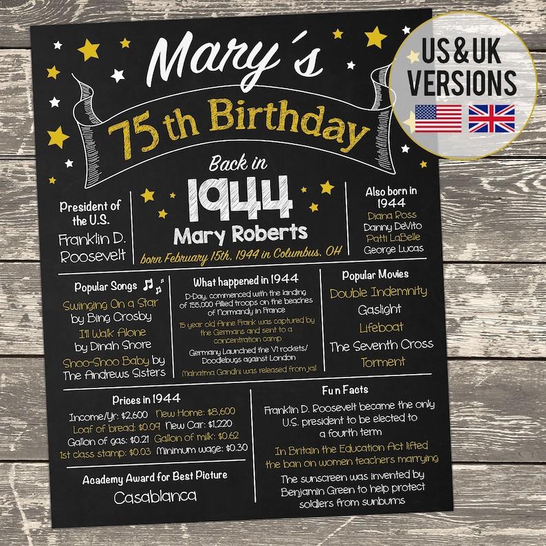 image 0 ...  sc 1 st  Etsy & 75th Birthday Poster 75th Birthday Sign 75th Birthday Party   Etsy