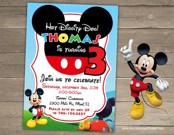 Mickey Mouse Invitation Birthday Party Third