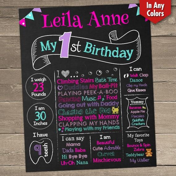 1st birthday poster board one year chalkboard first birthday etsy