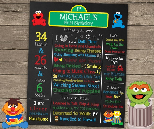 Sesame Street Birthday Poster Chalkboard 1st Party Decorations